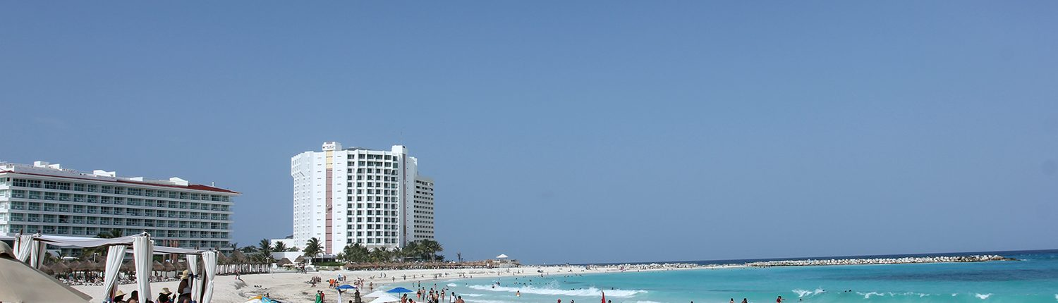 Cancun beach view with cabanas