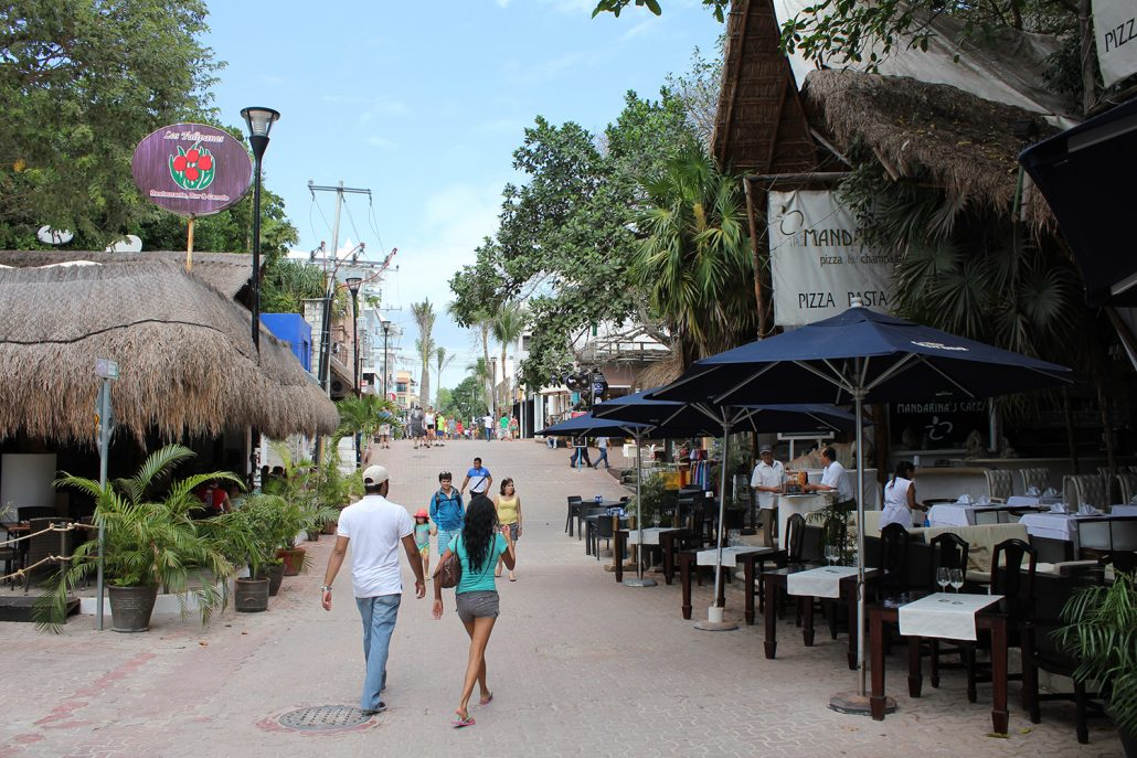 Outdoor restaurants at Playa Del Carmen